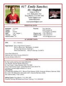 college recruiting profile template softball recruiting profile for emily class of 2013