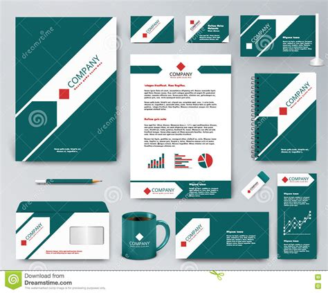 Universal Green Branding Design Kit With Arrow And Red Elements Stock Vector Illustration Of Branding Kit Template