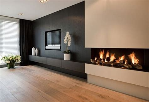 feature wall ideas living room with fireplace black white offsetting the fireplace and tv