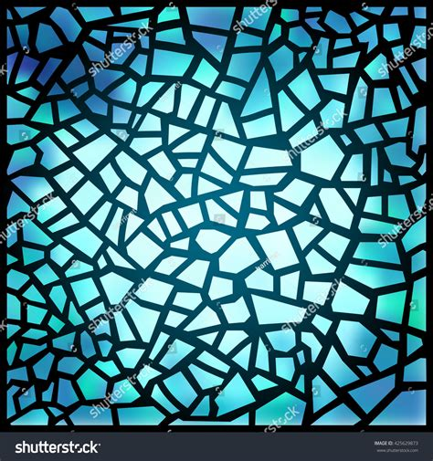 blue stained glass l beautiful blue stainedglass window vector illustration