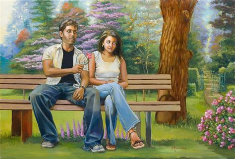home lovers lovers on a bench oil painting figures painting india