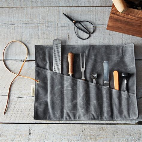 pattern knife roll waxed canvas tool roll on food52