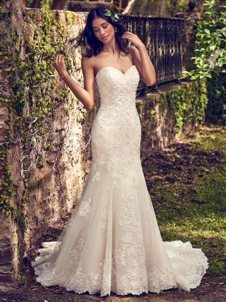 embelllished lace sweetheart neck fit and flare wedding