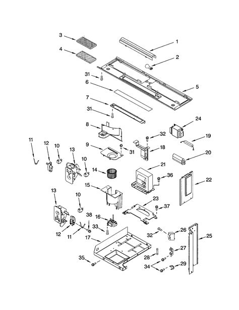 kitchenaid microwave parts diagram interior and ventilation diagram parts list for model