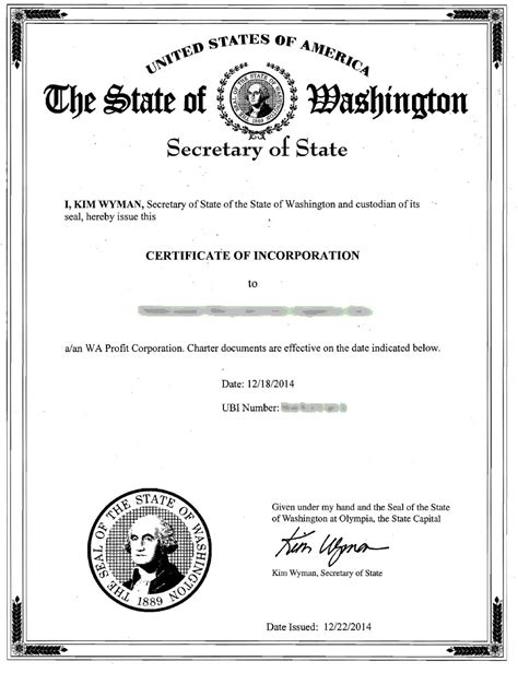 Washington Incorporation Registered Agent Incparadise Certificate Of Organization Template
