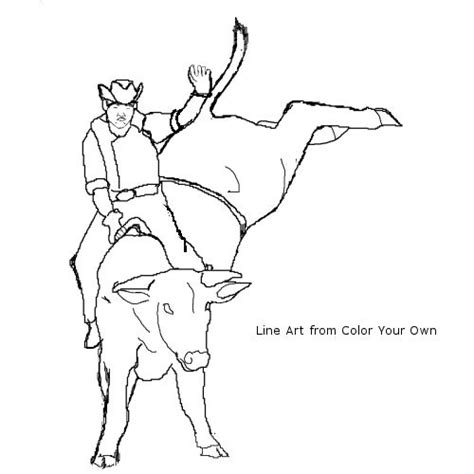 rider on bucking bull coloring page