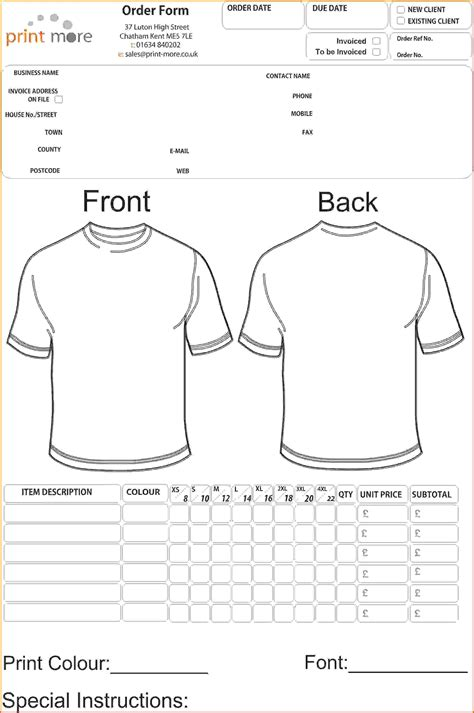 4 T Shirt Order Form Template Freereference Letters Words Reference Letters Words Shirt Order Form Template