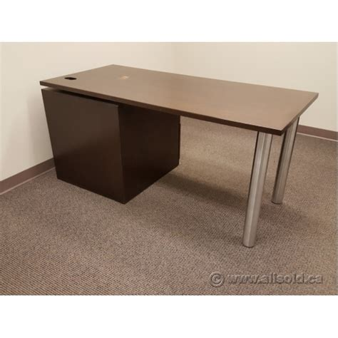 desk with compartment espresso single pedestal desk with pc compartment allsold ca buy sell used office