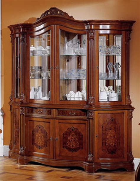 Italian Cabinets by Walnut 4 Door China Cabinet Made In Italy