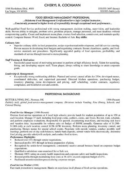 Food Service Resume Sles by Sle Resume For Food Service Supervisor