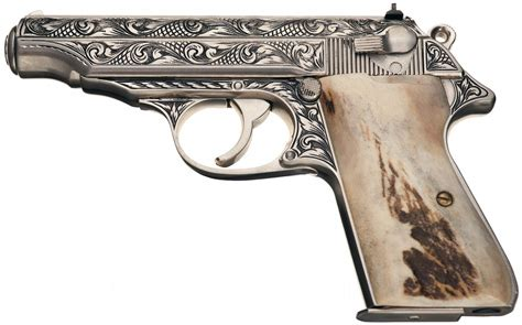 Handmade Pistol - signed custom engraved walther pp semi automatic pistol