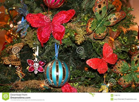 christmas decoration on fir tree stock image image 7185713
