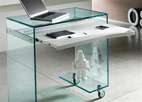 Tonelli Work Box Glass Desk Glass Desks Home Office Modern Glass Desks