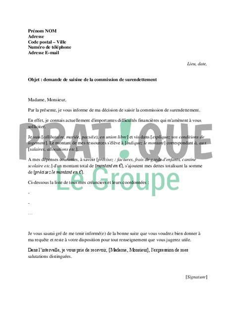 Demande De Lettre D Accueil Université Lettre De Demande De Saisine De La Commission De Surendettement Pratique Fr