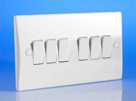 6 2 way light switch white