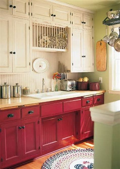 red kitchen white cabinets stylish two tone kitchen cabinets for your inspiration