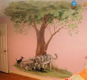 Trees Wall Mural Tree Mural With Wolves Traditional Kids Boston By