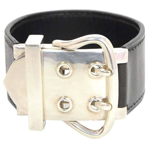 Hermes Hm049 Black Silver 1 hermes black leather and sterling silver buckle cuff
