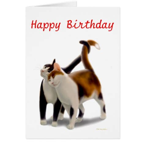 Happy Birthday Cat Card Happy Birthday Cat Friends Card Zazzle