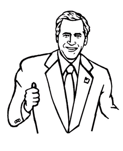 George W Bush Coloring Page by Usa Printables President George W Bush Coloring Page