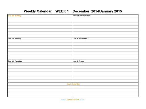 weekly calendar template 2015 weekly blank calendars models picture