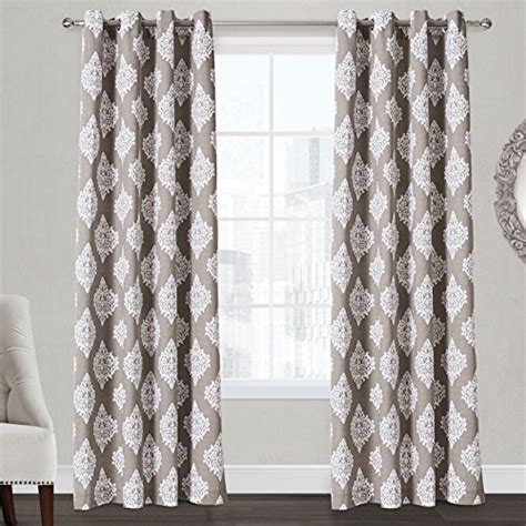taupe damask curtains exclusive home damask grommet top curtain panel pair 84