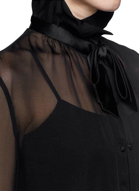 Blouse Rumbai Bow Black armani tie bow sheer silk blouse in black lyst