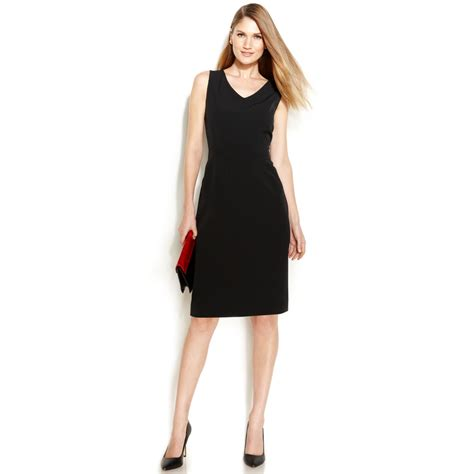 v neck sleeveless dress klein sleeveless v neck sheath dress in black lyst