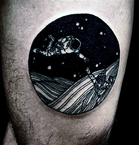 black and white space tattoo space themed black and white on thigh