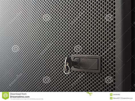 Mortise Cabinet Lock Perforated Metal Door Stock Photo Image Of Shining Lock