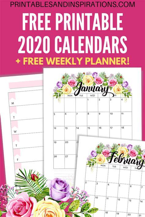 printable  calendar  flowers printables  inspirations