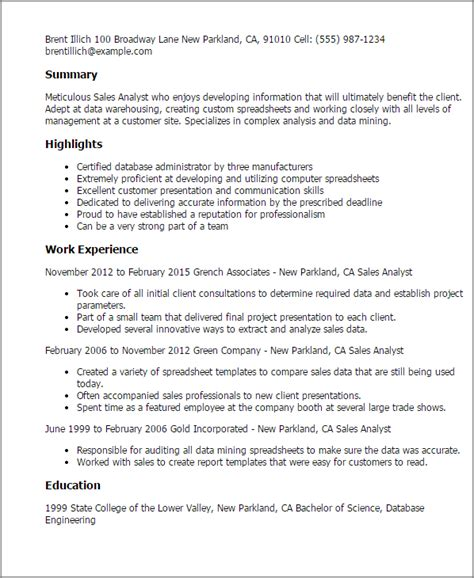 Sle Analyst Resume by Professional Sales Analyst Templates To Showcase Your Talent Myperfectresume