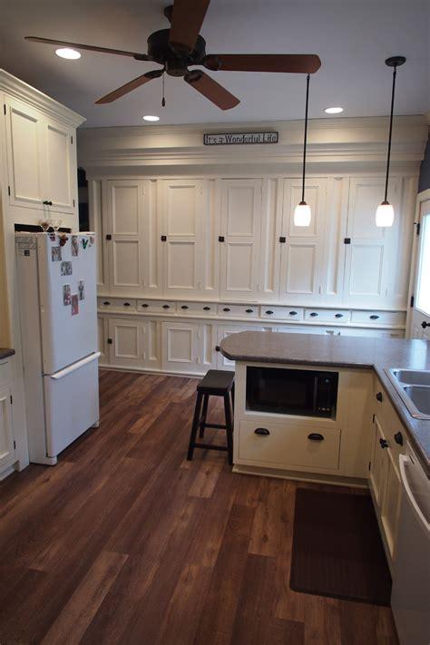 Dark Pine Bookcase Vinyl Plank Flooring Kitchen Farmhouse With Farmhouse