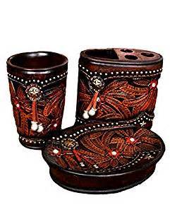 Western Themed Bathroom Accessories Western Lodge Theme 3 Pc Bathroom Accessory Set Tumber Toothbrush Soap Concho