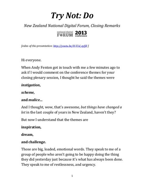 Closing Letter Remarks Try Not Do New Zealand National Digital Forum Closing Remarks