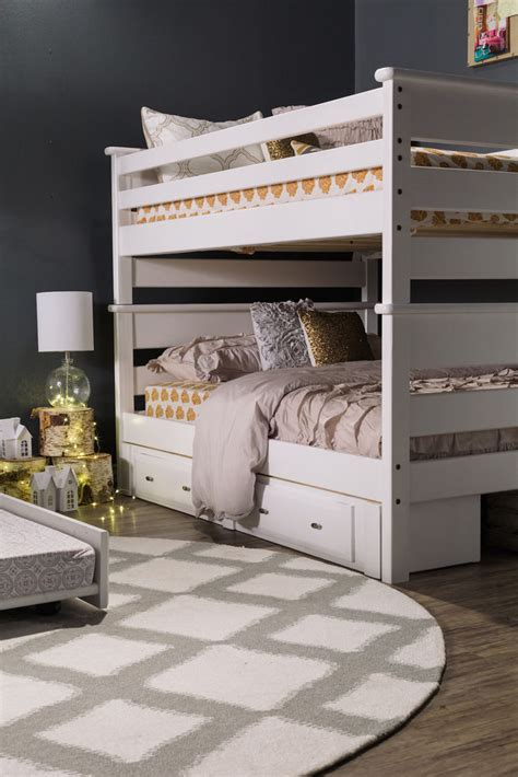 white full over full bunk beds contemporary youth full over full bunk bed in white