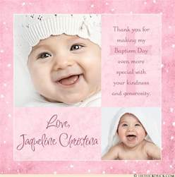 modern baptism thank you card two photo pink baby