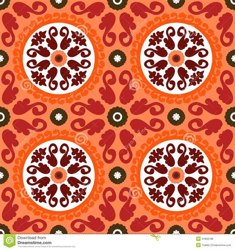 20973 Bold Retro Pattern S M L suzani vector pattern with bold ornament stock vector