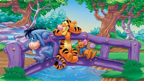 eeyore tigger  roo friendship river bridge fence cartoon winnie  pooh desktop wallpaper hd