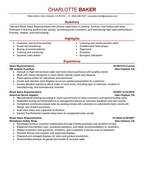 Resume Sles On Customer Service Representative Best Rep Retail Sales Resume Exle Livecareer