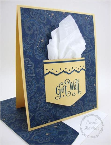 Handmade Get Well Card Ideas - handmade get well card pocket with real kleenix