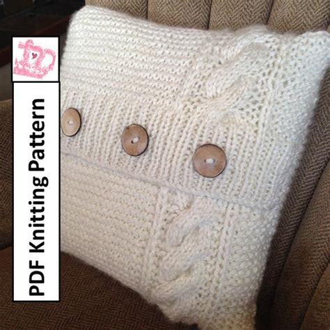 Knitting Pillow Patterns - pdf knitting pattern cable knit pillow cover pattern knitted