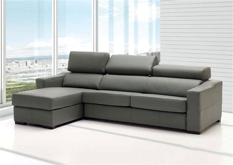 storage sectional lucas grey leather sectional sofa with sleeper and storage
