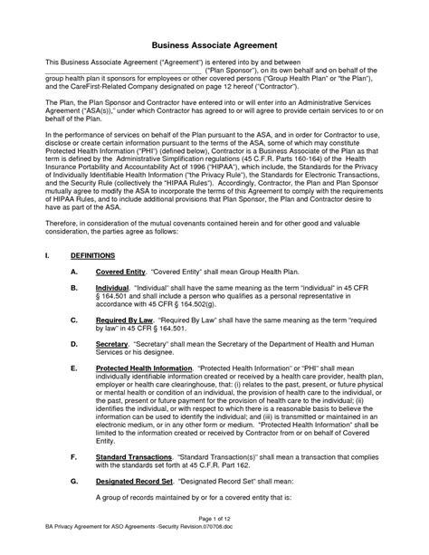 Business Associate Agreement Design Templates Business Associate Agreement Template 2018