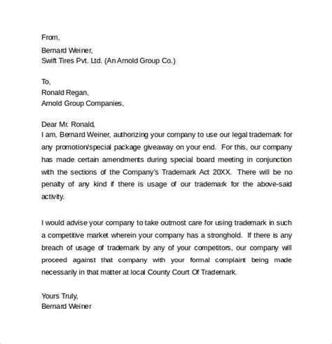 legal letter template 8 sles exles formats