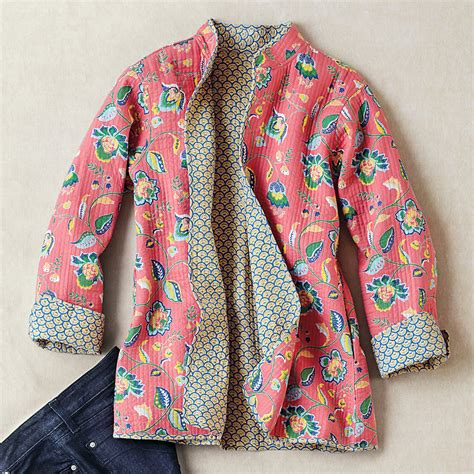 sewing pattern reversible quilted jacket reversible quilted floral jacket gump s