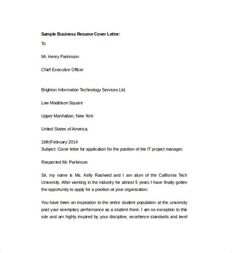 Business Cover Letter Doc Sle Resume Cover Letter Template 7 Free Documents In Pdf Word