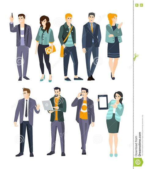 design engineer dress code young professionals set of cool people stock vector