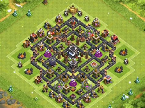 layout design th8 powerful th8 war base anti gowipe anti hogs anti dragon