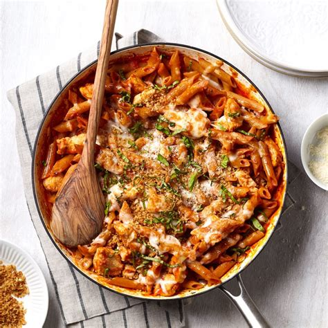 one pan chicken parmesan pasta recipe eatingwell